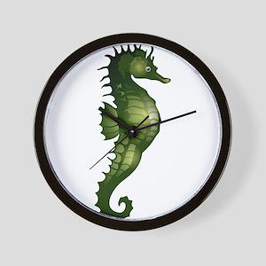 Green Seahorse Wall Clock