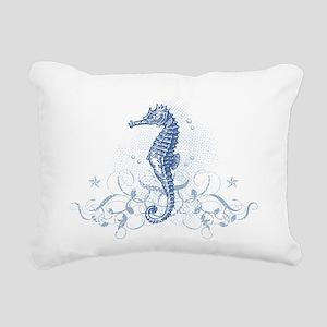 Blue Seahorse Rectangular Canvas Pillow