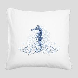 Blue Seahorse Square Canvas Pillow