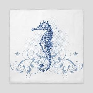 Blue Seahorse Queen Duvet