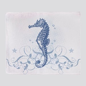 Blue Seahorse Throw Blanket