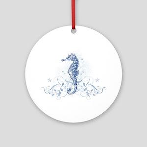 Blue Seahorse Ornament (Round)