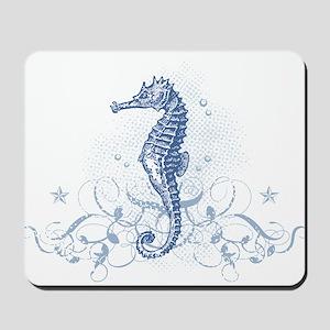 Blue Seahorse Mousepad