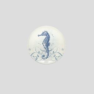 Blue Seahorse Mini Button