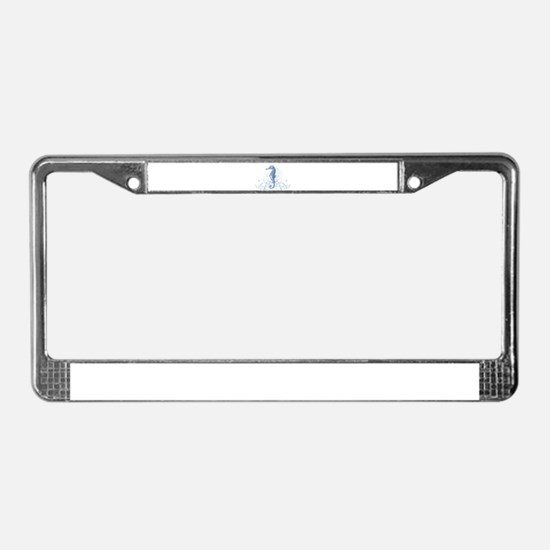 Blue Seahorse License Plate Frame