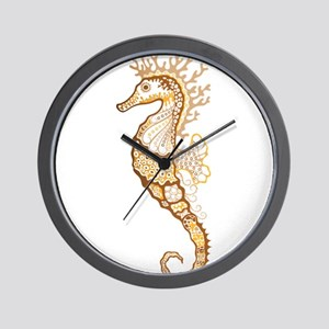 Tan Seahorse Wall Clock
