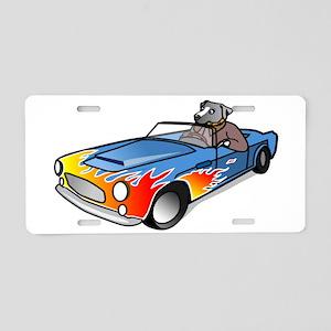 Dog Driving Sports Car Aluminum License Plate