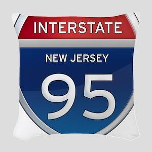 New Jersey Interstate 95 Woven Throw Pillow
