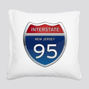 New Jersey Interstate 95 Square Canvas Pillow