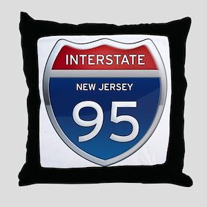 New Jersey Interstate 95 Throw Pillow