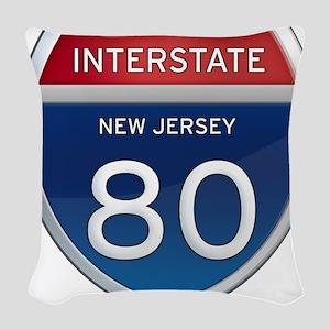 New Jersey Interstate 80 Woven Throw Pillow