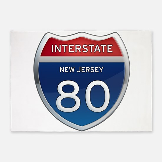 New Jersey Interstate 80 5'x7'Area Rug