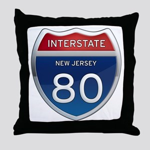 New Jersey Interstate 80 Throw Pillow