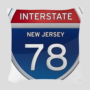 New Jersey Interstate 78 Woven Throw Pillow