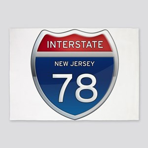 New Jersey Interstate 78 5'x7'Area Rug