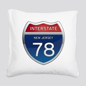New Jersey Interstate 78 Square Canvas Pillow