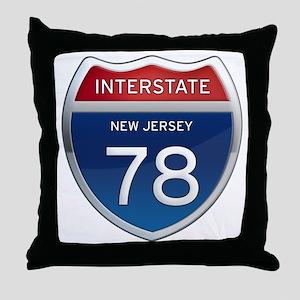 New Jersey Interstate 78 Throw Pillow