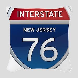 New Jersey Interstate 76 Woven Throw Pillow
