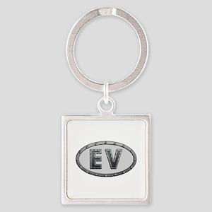 EV Metal Square Keychain