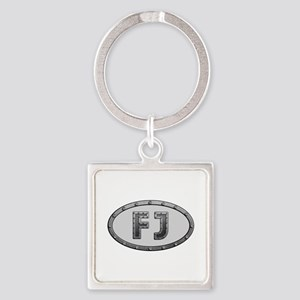 FJ Metal Square Keychain