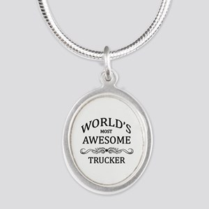 World's Most Awesome Trucker Silver Oval Necklace
