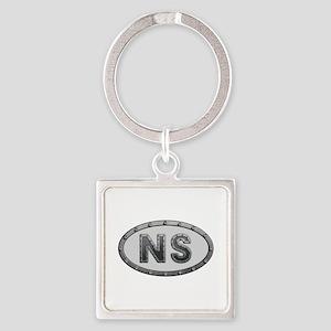 NS Metal Square Keychain