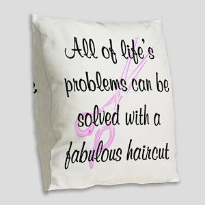 TOP HAIR STYLIST Burlap Throw Pillow