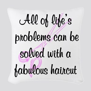 TOP HAIR STYLIST Woven Throw Pillow