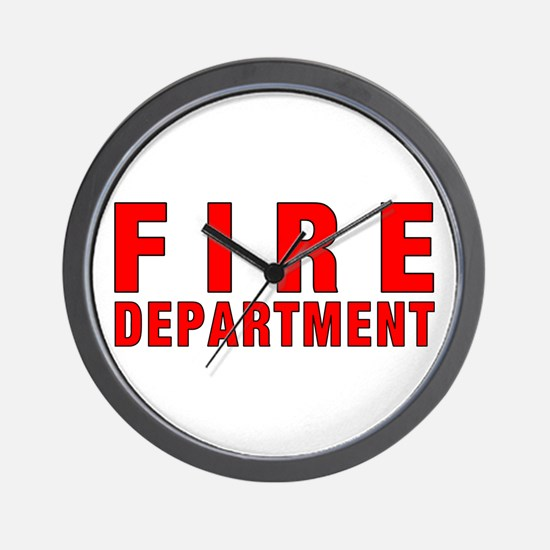 Fire Department Red Wall Clock