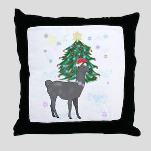Santa Llama Throw Pillow