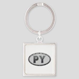 PY Metal Square Keychain