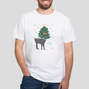 Santa Llama White T-Shirt