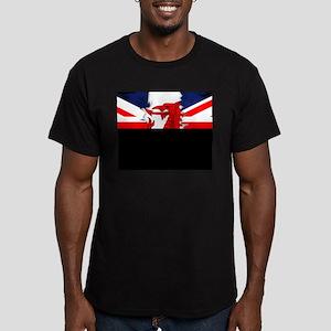 Grunge Welsh Flag Union Jack Fitted T-Shirt (dark)