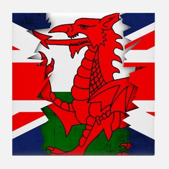 Welsh Flag Union Jack Ripped Effect Tile Coaster