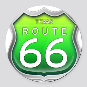 Texas Route 66 - Green Round Car Magnet