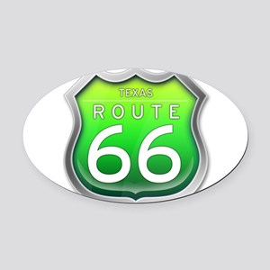 Texas Route 66 - Green Oval Car Magnet
