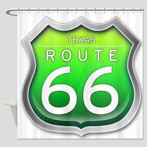 Texas Route 66 - Green Shower Curtain