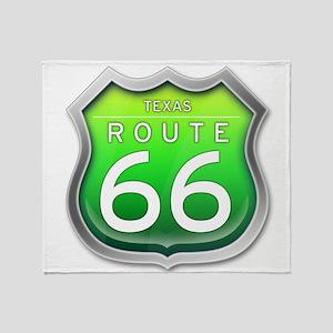 Texas Route 66 - Green Throw Blanket
