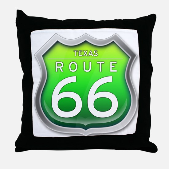Texas Route 66 - Green Throw Pillow