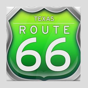 Texas Route 66 - Green Tile Coaster