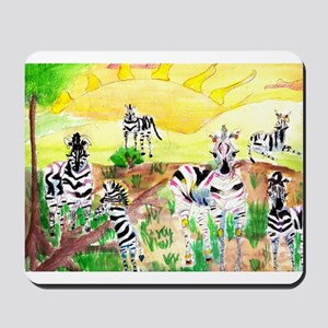Zebras Day on the GrassLand Mousepad