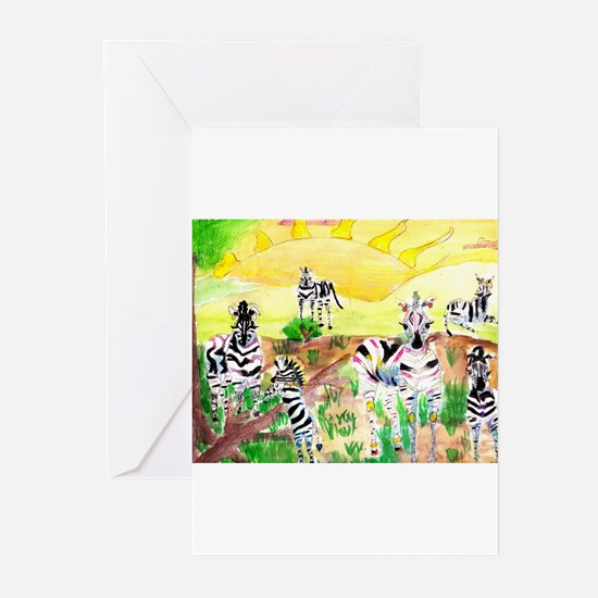 Zebras Day on the GrassLand Greeting Cards