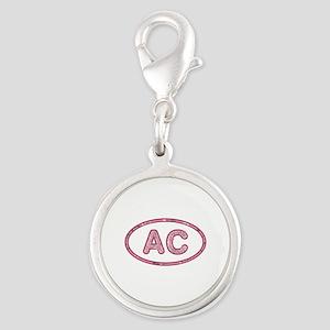 AC Pink Silver Round Charm