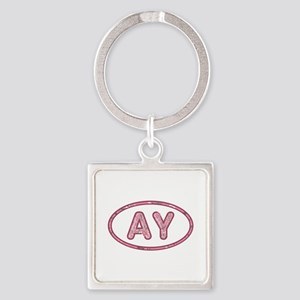 AY Pink Square Keychain