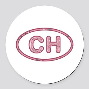 CH Pink Round Car Magnet