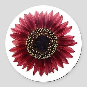 Ruby sunflower Round Car Magnet