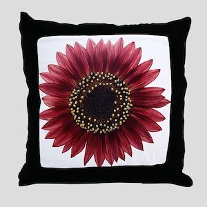 Ruby sunflower Throw Pillow