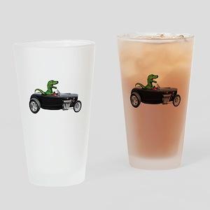T-rex Hot Rod Drinking Glass