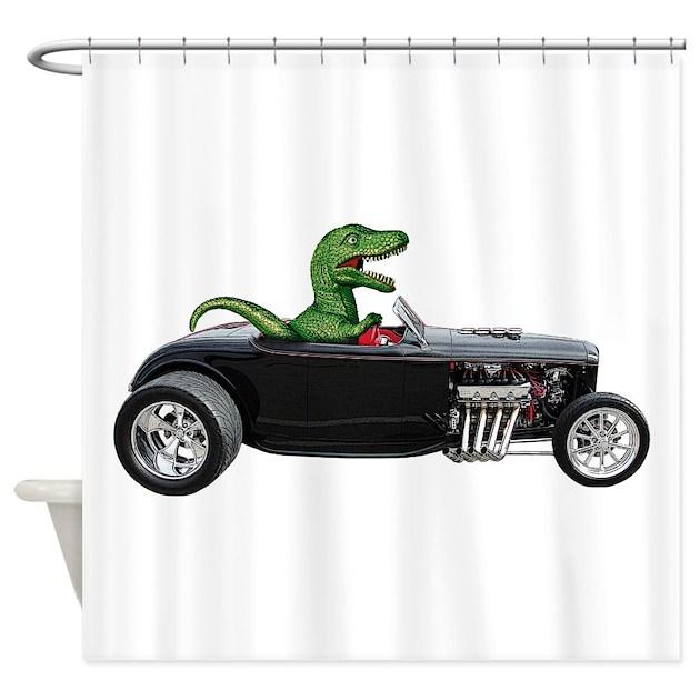 T-rex Hot Rod Shower Curtain by zoomwear