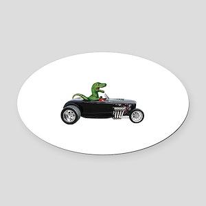T-rex Hot Rod Oval Car Magnet